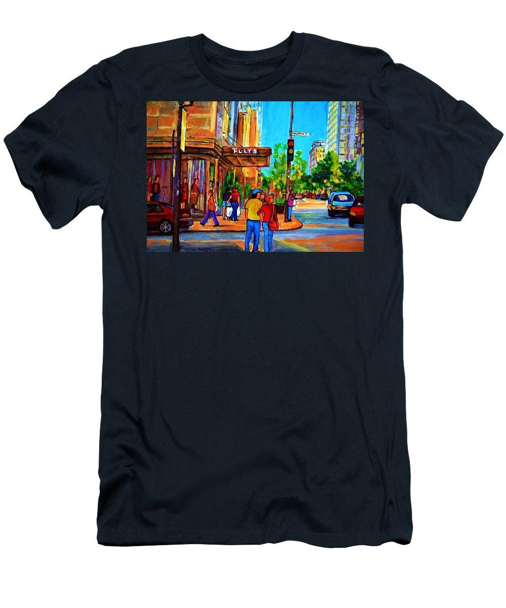 Holt Renfrew Men's T-Shirt (Athletic Fit) featuring the painting Fashionable Holt Renfrew by Carole Spandau