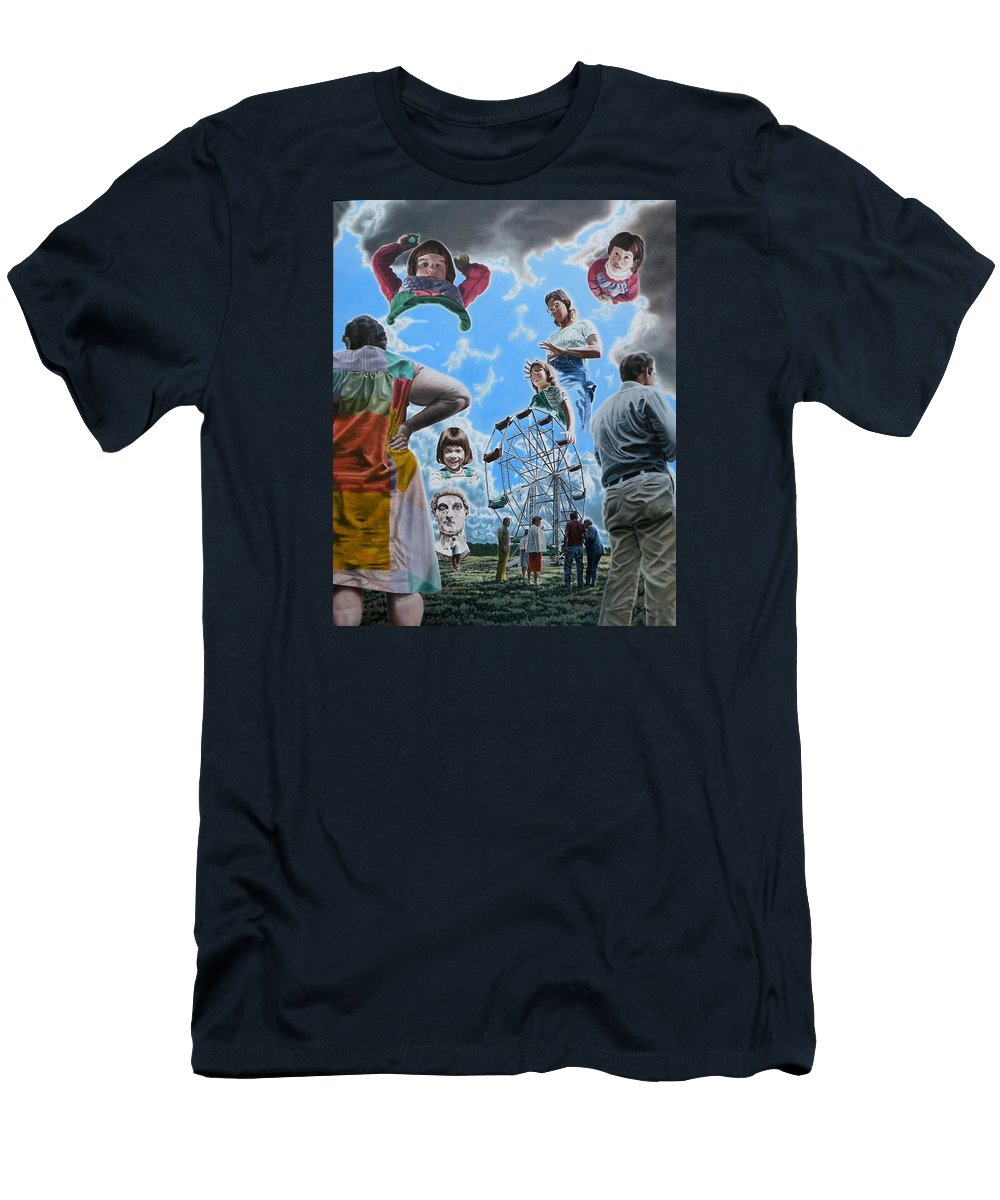 Woman Men's T-Shirt (Athletic Fit) featuring the painting Ferris Wheel by Dave Martsolf