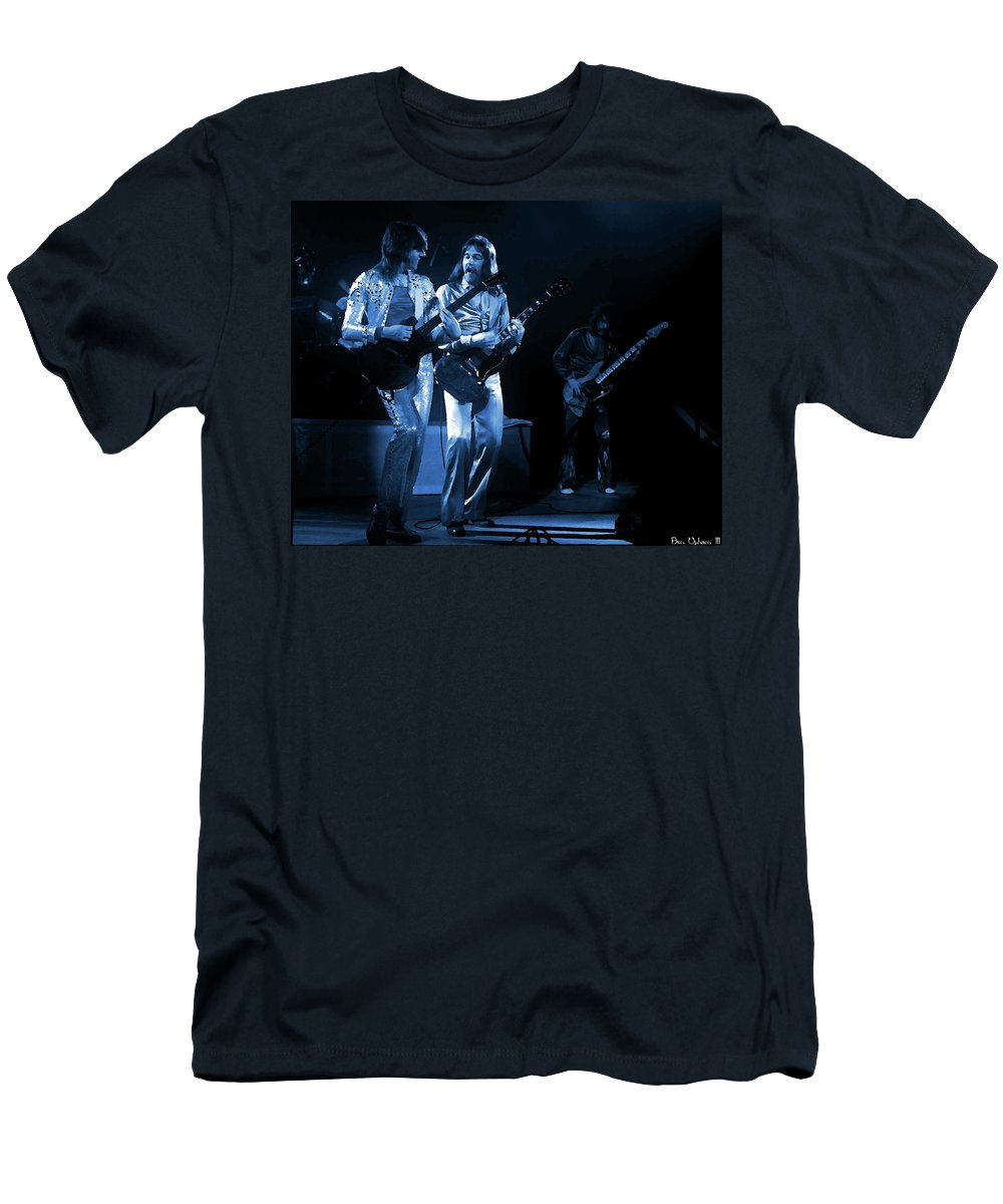 Foghat Men's T-Shirt (Athletic Fit) featuring the digital art Fhat#39 Enhanced In Blue by Ben Upham