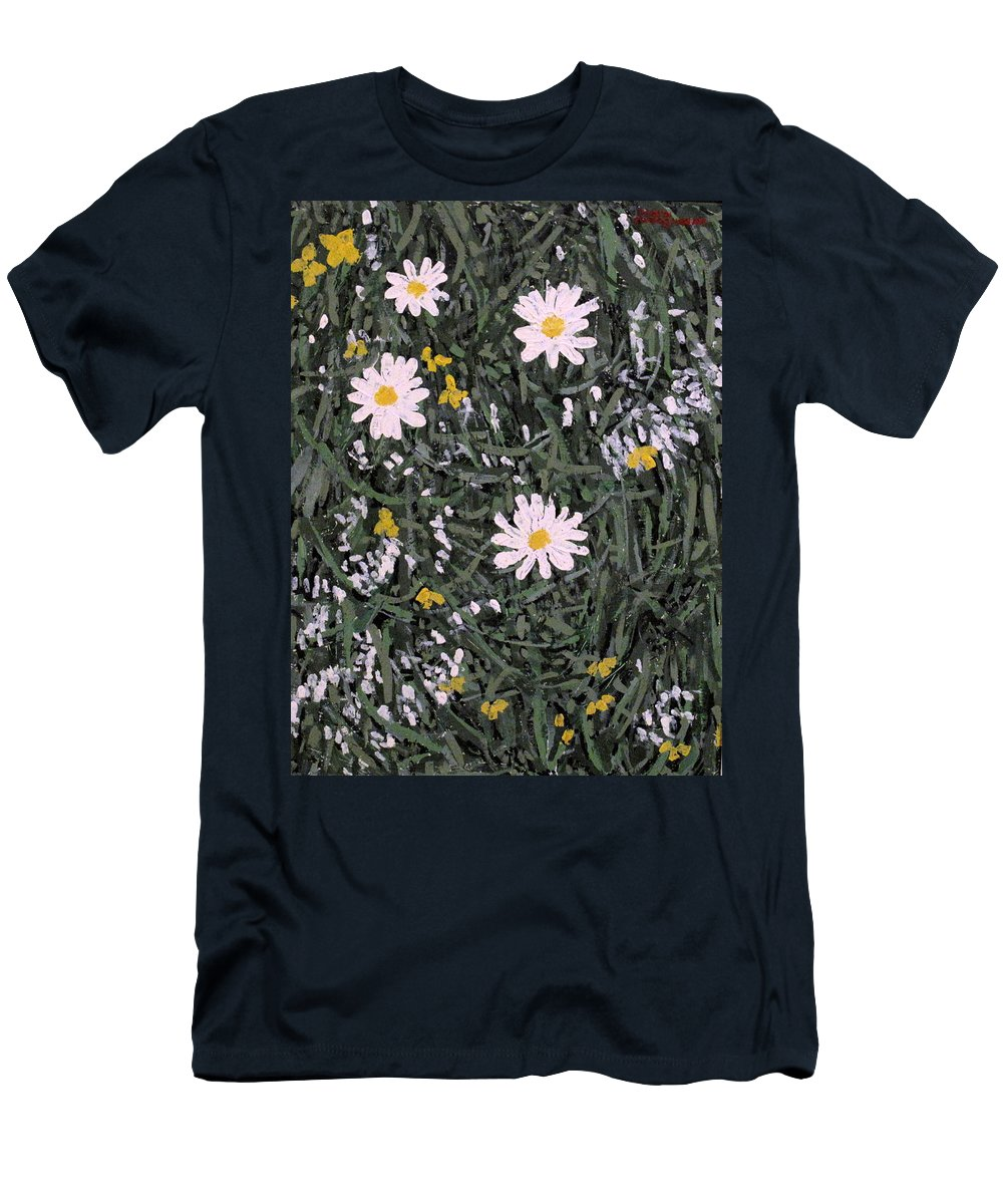 Daisies Men's T-Shirt (Athletic Fit) featuring the painting Field Daisies by Ian MacDonald