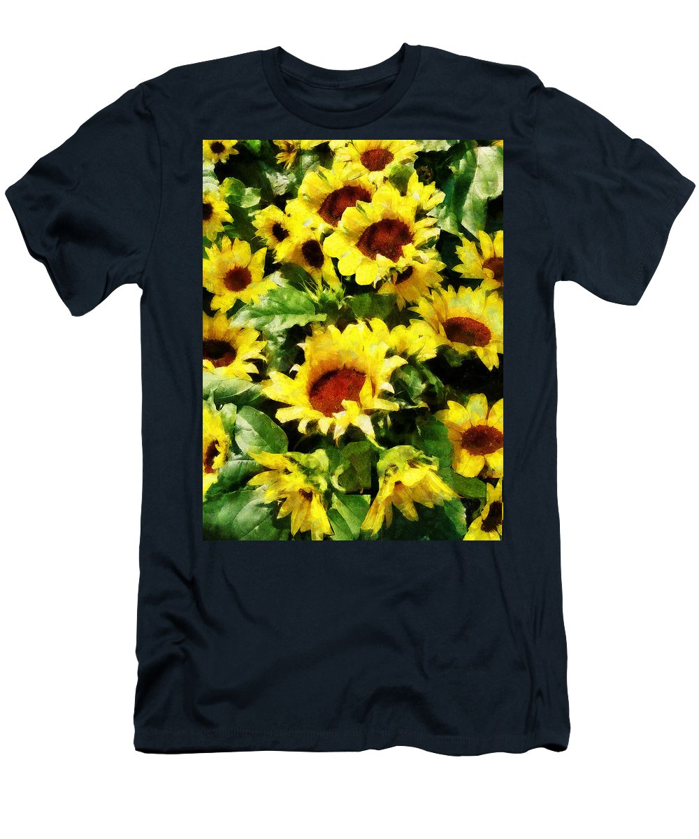 Garden Men's T-Shirt (Athletic Fit) featuring the photograph Field Of Sunflowers by Susan Savad