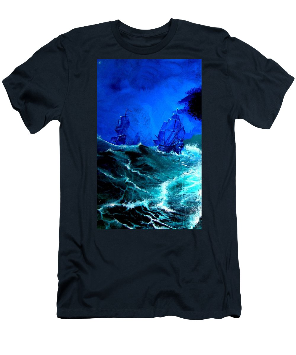 Seascape Men's T-Shirt (Athletic Fit) featuring the painting Fight For Life by Glory Fraulein Wolfe