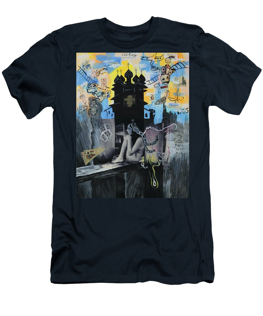 Surreal Men's T-Shirt (Athletic Fit) featuring the painting First Butterfly by Yelena Tylkina