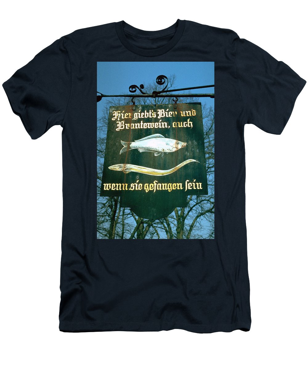 Store Sign Men's T-Shirt (Athletic Fit) featuring the photograph Fish by Flavia Westerwelle