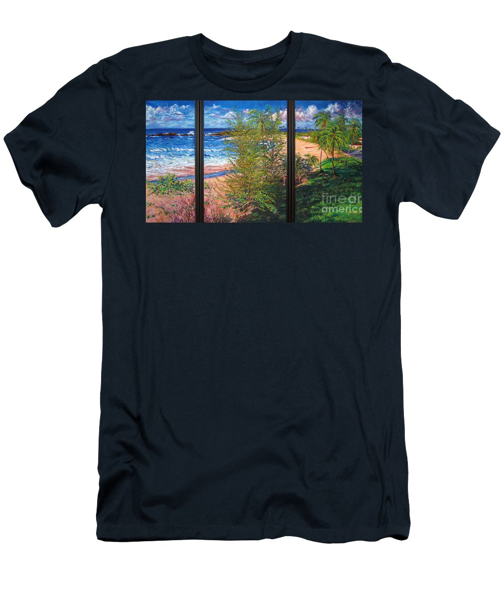 Oil Painting Men's T-Shirt (Athletic Fit) featuring the painting Fishermen's Paradise by Estela Robles