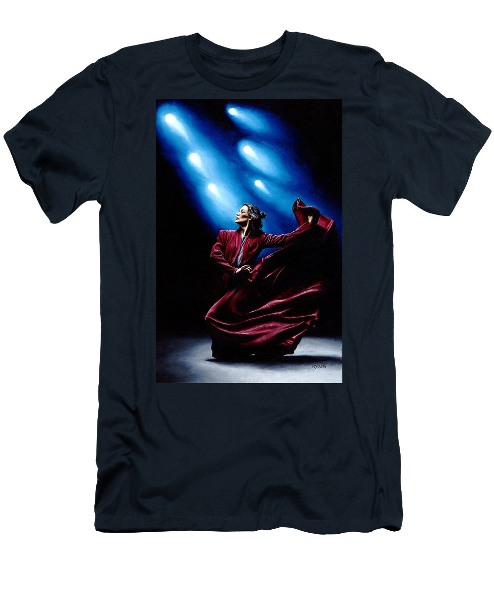 Original Oil Painting Produced On Stretched 91cm X 61cm Canvas Using A Knife T-Shirt featuring the painting Flamenco Performance by Richard Young