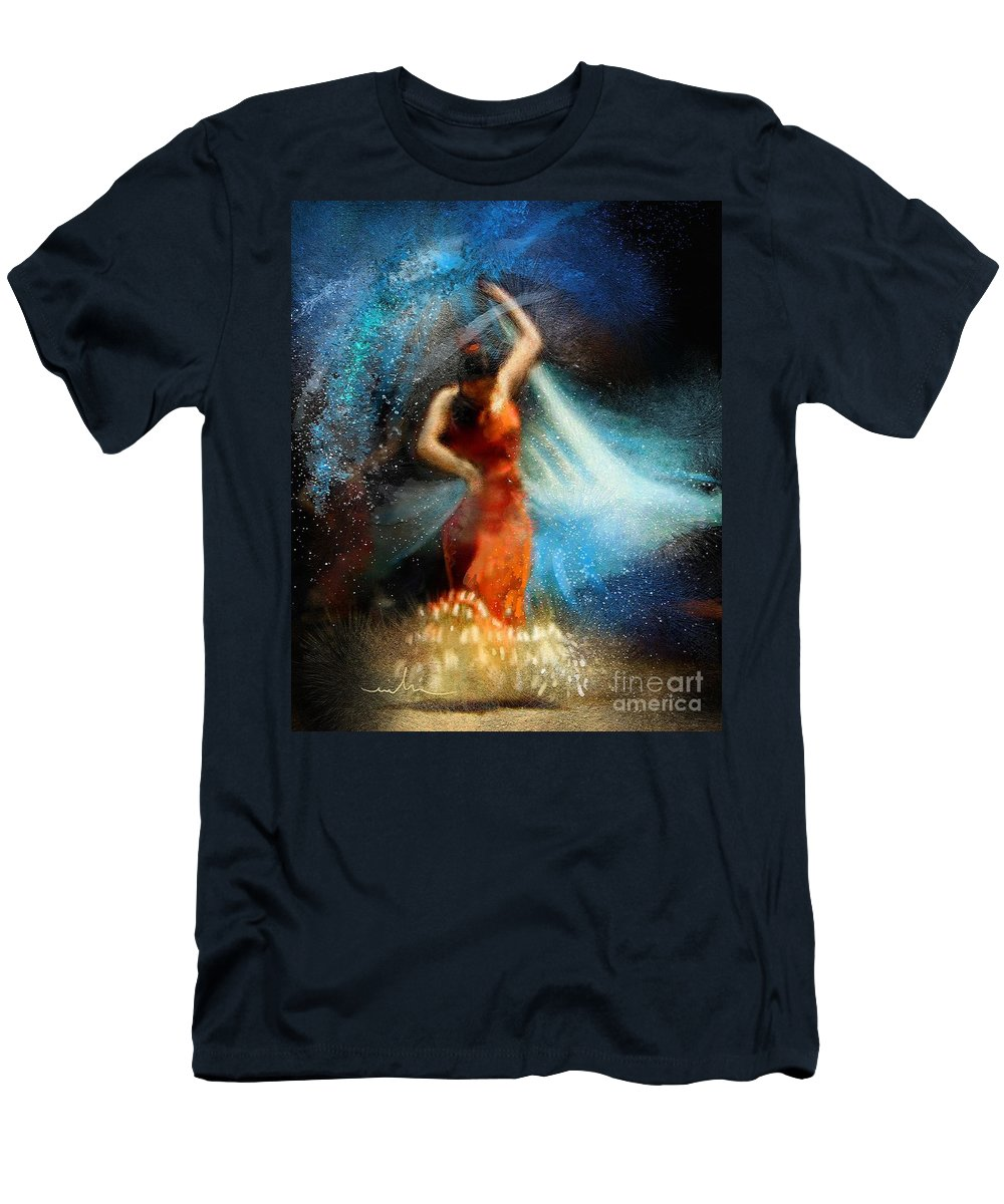 Flamenco Men's T-Shirt (Athletic Fit) featuring the painting Flamencoscape 05 by Miki De Goodaboom