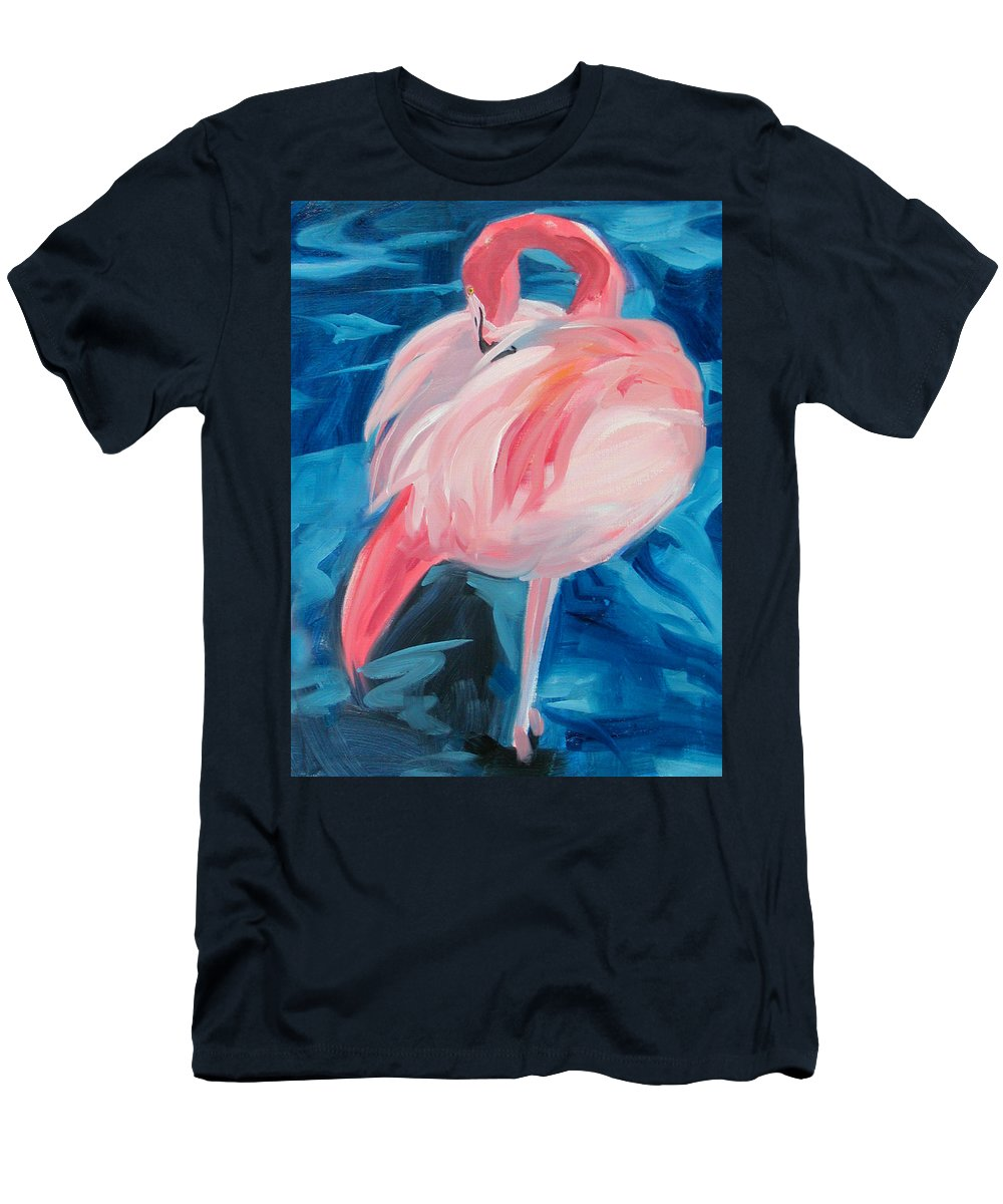 Tropical Men's T-Shirt (Athletic Fit) featuring the painting Flamingo by Neal Smith-Willow
