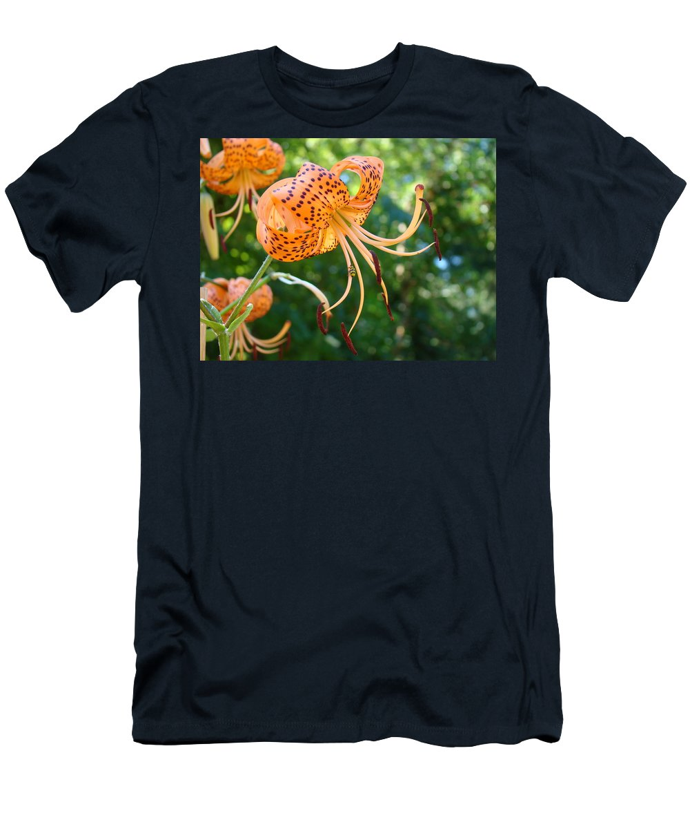 Lilies Men's T-Shirt (Athletic Fit) featuring the photograph Floral Tiger Lily Flower Art Print Orange Lilies Baslee Troutman by Baslee Troutman