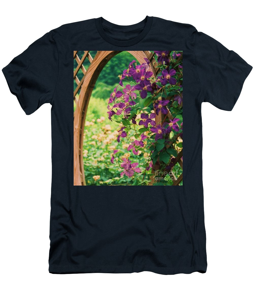 Floral Men's T-Shirt (Athletic Fit) featuring the painting Flowers On Vine by Eric Schiabor