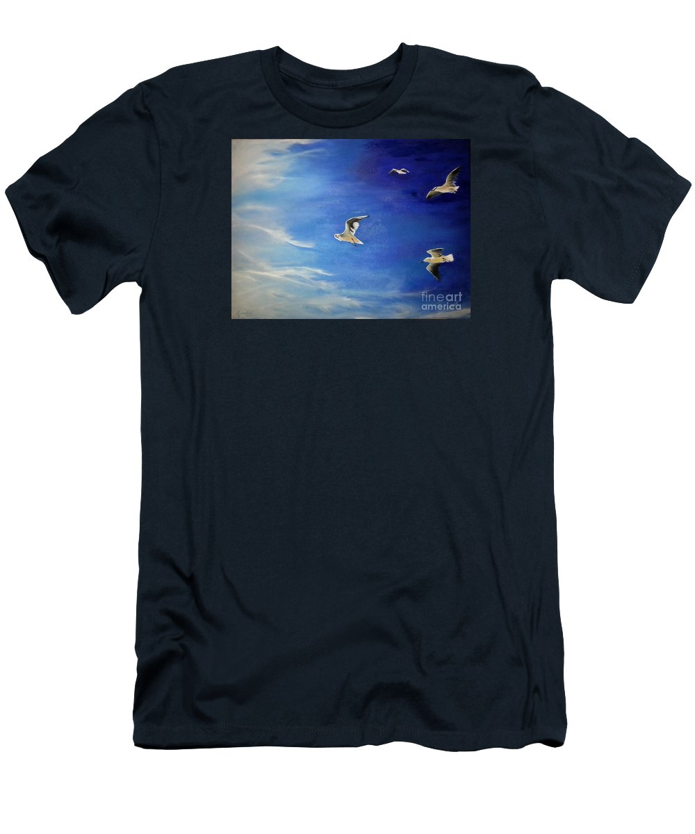 Seagulls Men's T-Shirt (Athletic Fit) featuring the painting Flying Seagulls by Silvana Miroslava Albano