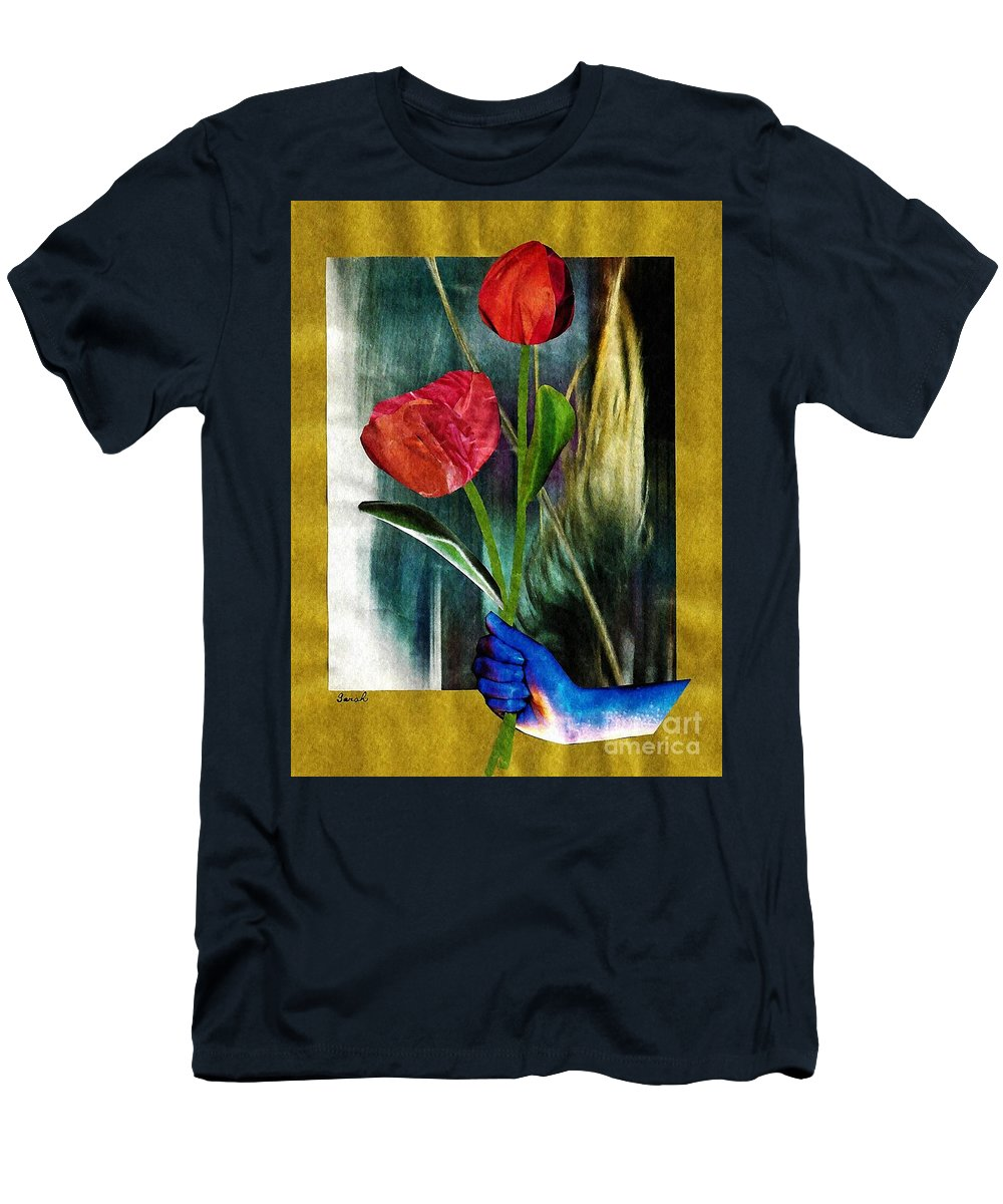 Hand Men's T-Shirt (Athletic Fit) featuring the mixed media For You by Sarah Loft