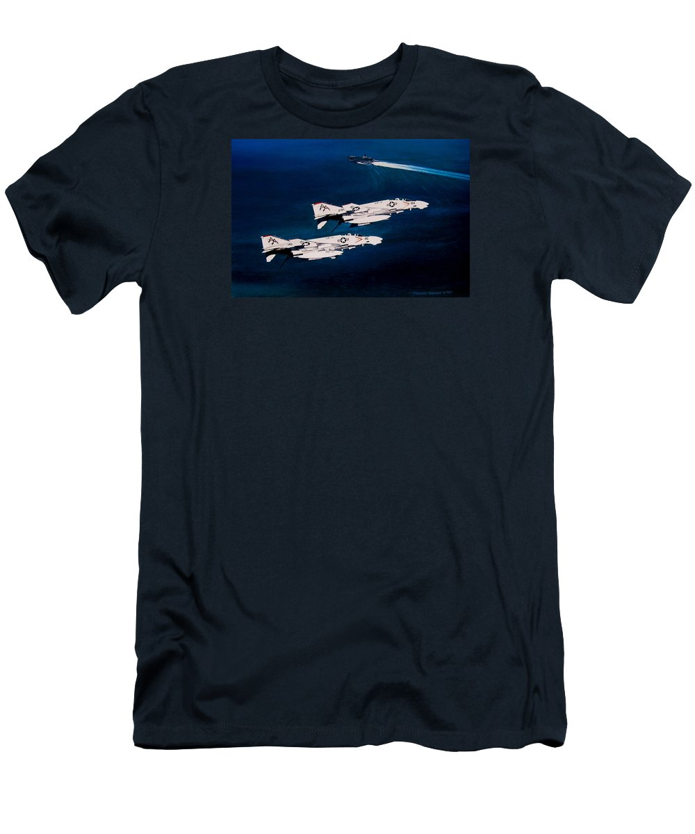 Military Men's T-Shirt (Slim Fit) featuring the painting Forrestal S Phantoms by Marc Stewart