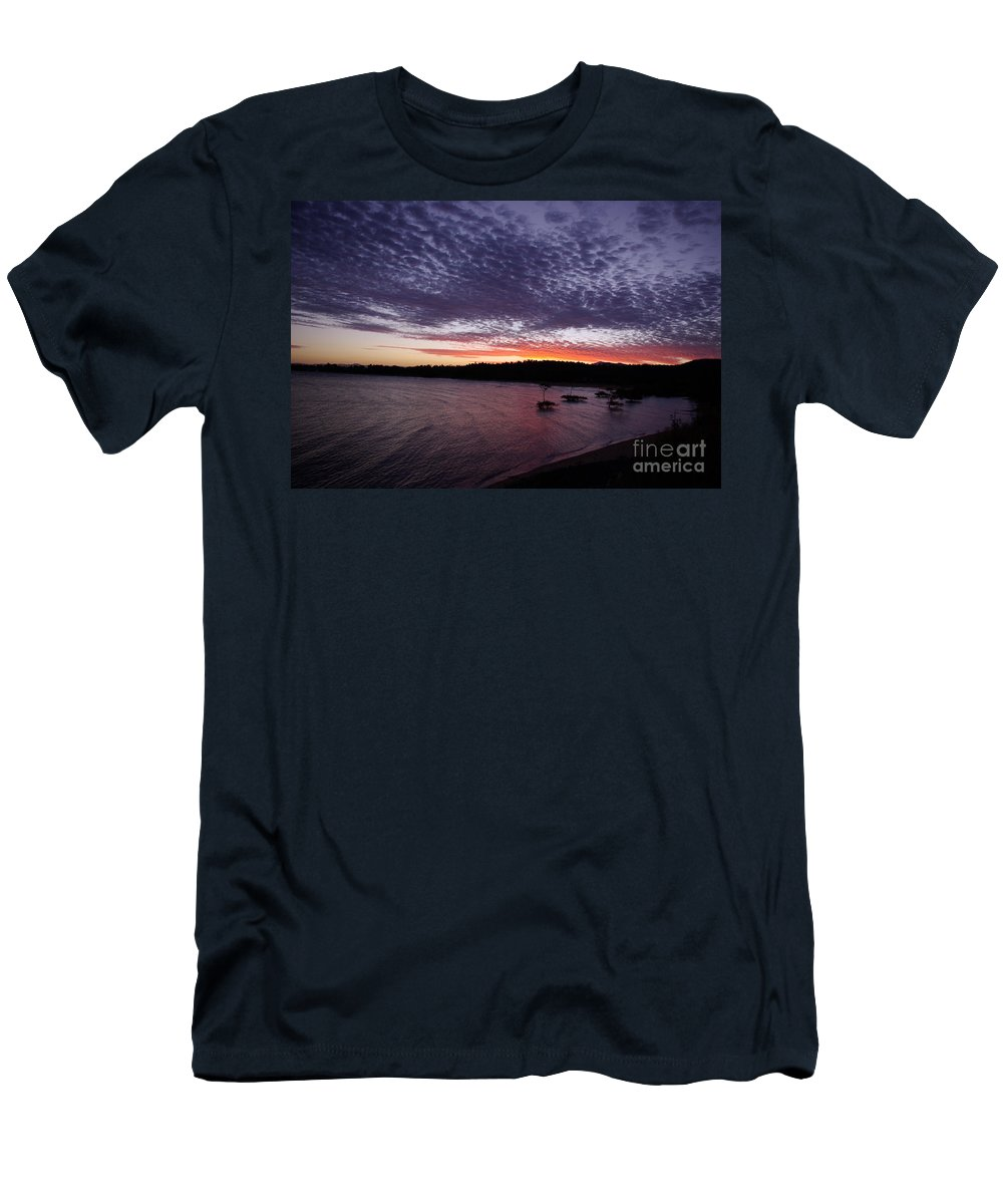 Landscape Men's T-Shirt (Athletic Fit) featuring the photograph Four Elements Sunset Sequence 7 Coconuts Qld by Kerryn Madsen - Pietsch