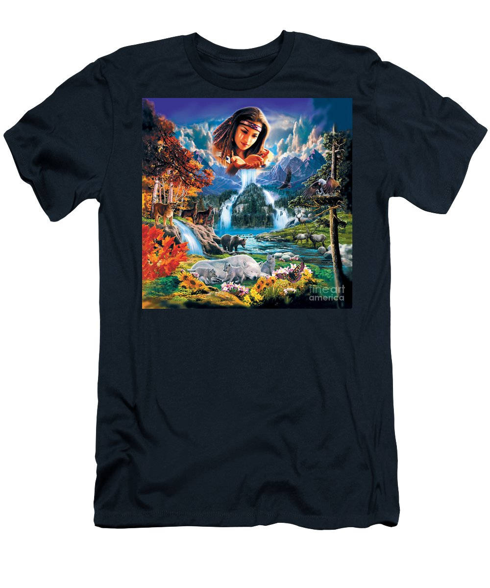 Square Men's T-Shirt (Athletic Fit) featuring the painting Four Seasons by MGL Meiklejohn Graphics Licensing