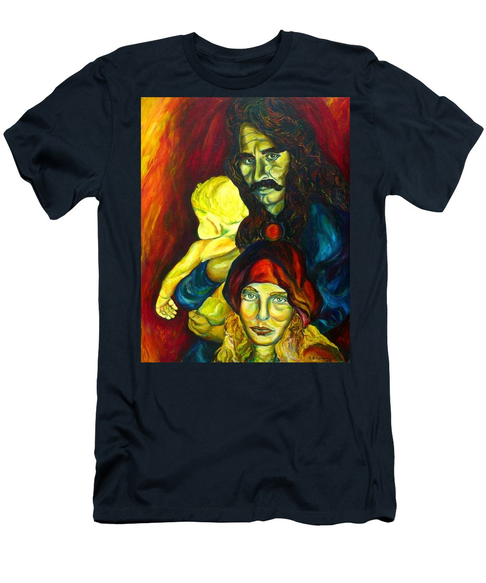 Frank Zappa Men's T-Shirt (Athletic Fit) featuring the painting Frank Zappa  by Carole Spandau