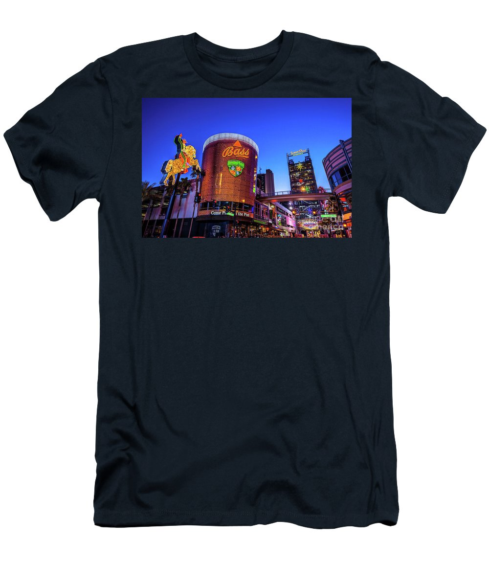Fremont Street Men's T-Shirt (Athletic Fit) featuring the photograph Fremont Street Entrance From The East At Dusk by Aloha Art