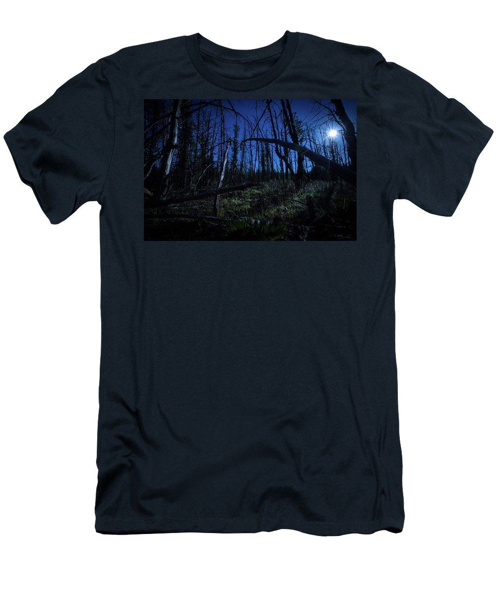 Night Moon Travel Patagonia South America Men's T-Shirt (Athletic Fit) featuring the photograph Full Moon Night by Rodrigo Kaspary