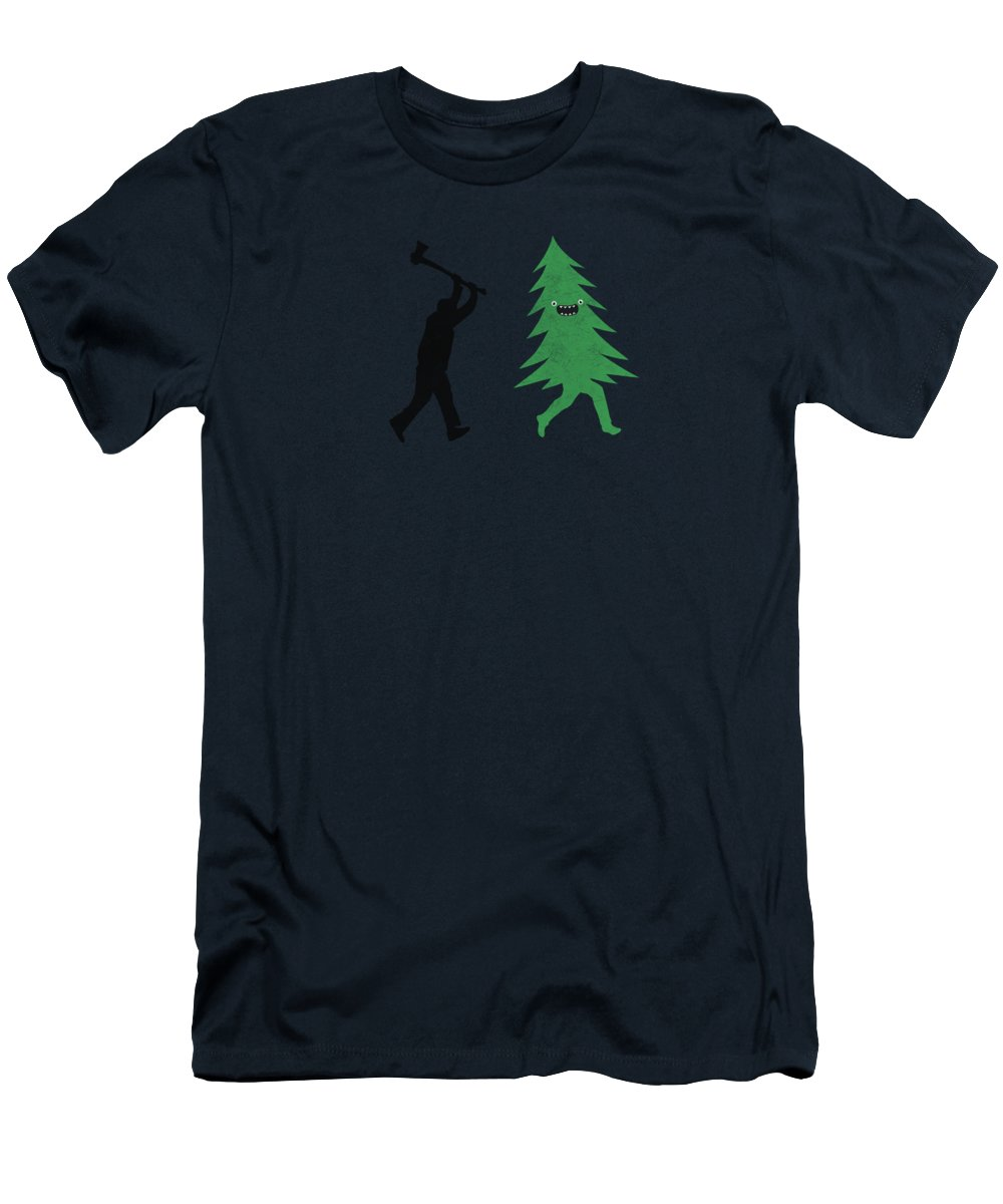 Cute Men's T-Shirt (Athletic Fit) featuring the digital art Funny Cartoon Christmas Tree Is Chased By Lumberjack Run Forrest Run by Philipp Rietz