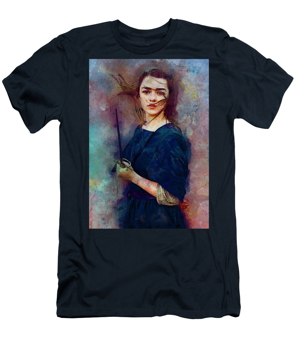 Game Of Thrones Men's T-Shirt (Athletic Fit) featuring the digital art Game Of Thrones. Arya Stark. by Nadezhda Zhuravleva