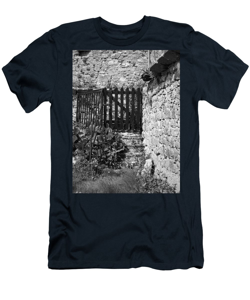 Irish Men's T-Shirt (Athletic Fit) featuring the photograph Gate At Dunguaire Castle Kinvara Ireland by Teresa Mucha