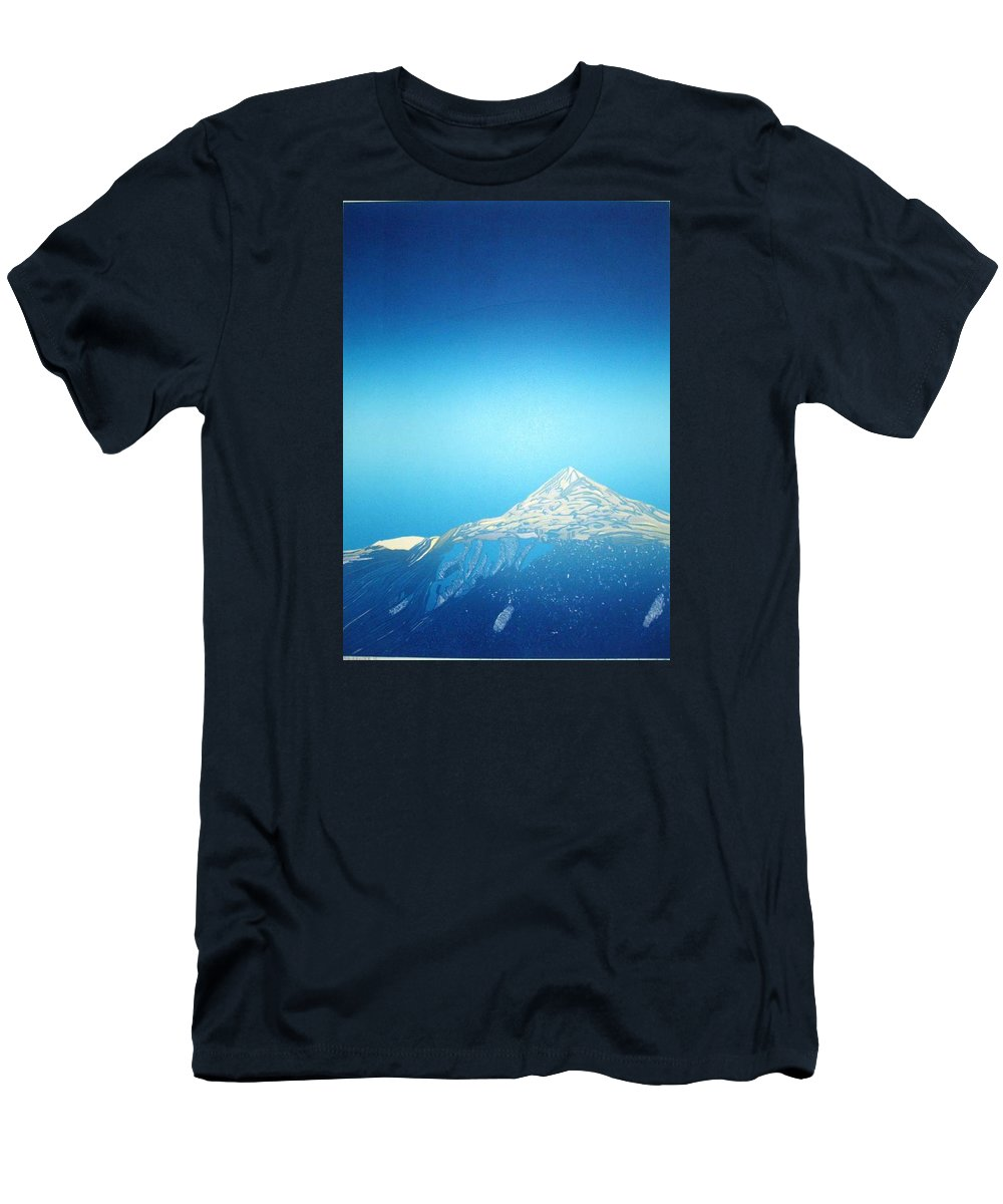 Men's T-Shirt (Athletic Fit) featuring the drawing Gaustatoppen. by Jarle Rosseland