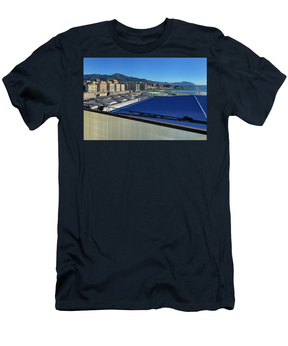 Luoghi Abbandonati Men's T-Shirt (Athletic Fit) featuring the photograph Genova Town Landscape From Abandoned Office Building Roof by Enrico Pelos