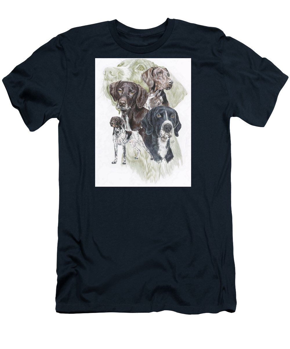 Gshp Men's T-Shirt (Athletic Fit) featuring the mixed media German Shorted-haired Pointer W/ghost by Barbara Keith