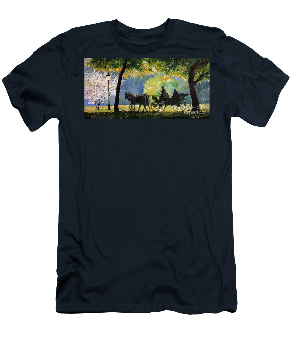 Oil Men's T-Shirt (Athletic Fit) featuring the painting Germany Baden-baden Lichtentaler Allee Spring by Yuriy Shevchuk