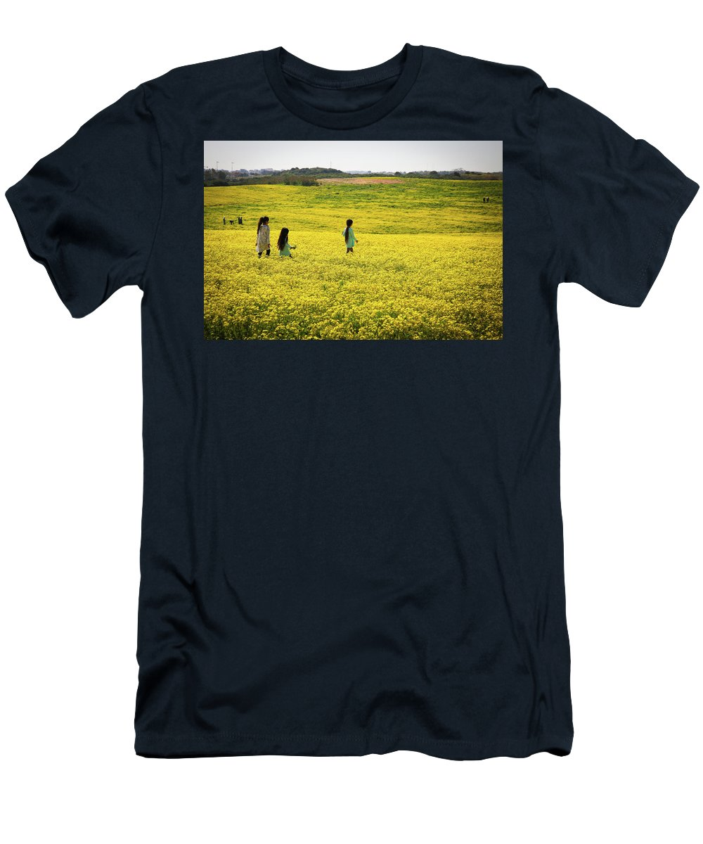 Girls Men's T-Shirt (Athletic Fit) featuring the photograph Girls Walking In The Field by Gal Shoval mashiach