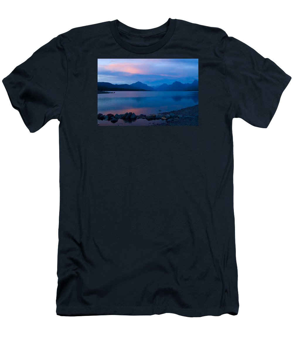 Glacier National Park Men's T-Shirt (Athletic Fit) featuring the photograph Glacier - Lake Mcdonald Dawn by Don Keisling