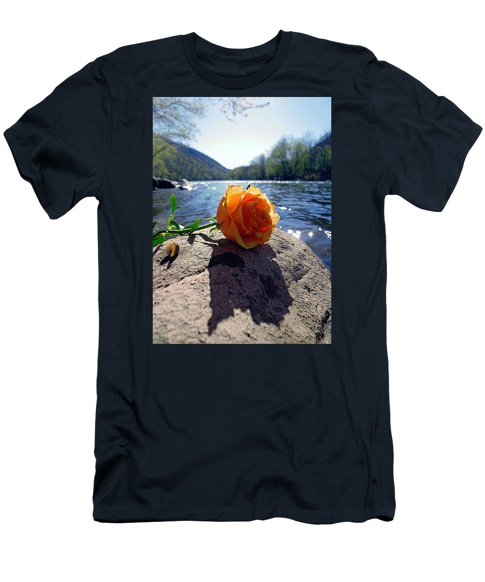Rose Men's T-Shirt (Athletic Fit) featuring the photograph Glade Creek Rose by Gwen Curry