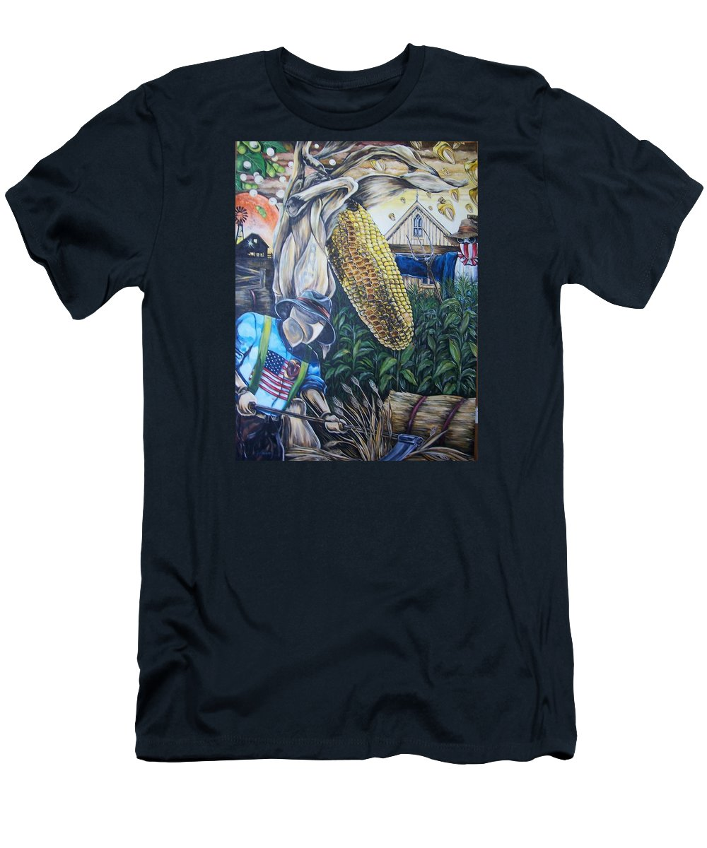 Corn Men's T-Shirt (Athletic Fit) featuring the painting Gods Ear by James Henry