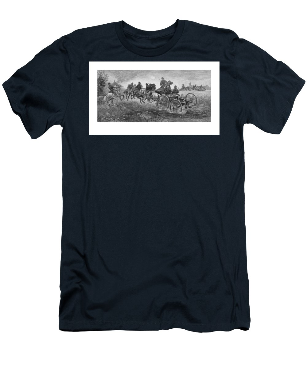 Civil War Men's T-Shirt (Athletic Fit) featuring the drawing Going Into Battle - Civil War by War Is Hell Store