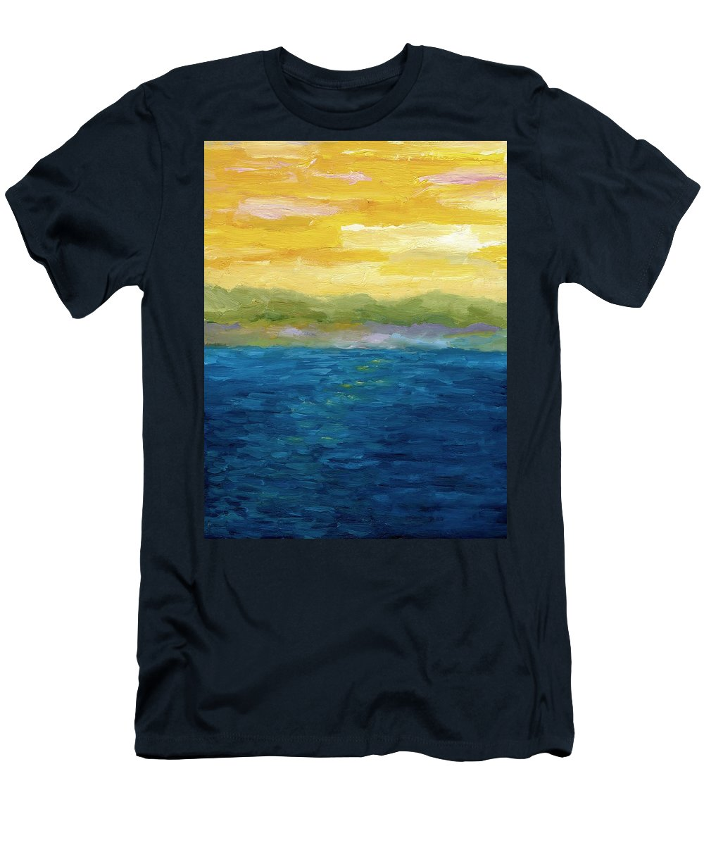 Lake Men's T-Shirt (Athletic Fit) featuring the painting Gold And Pink Sunset by Michelle Calkins