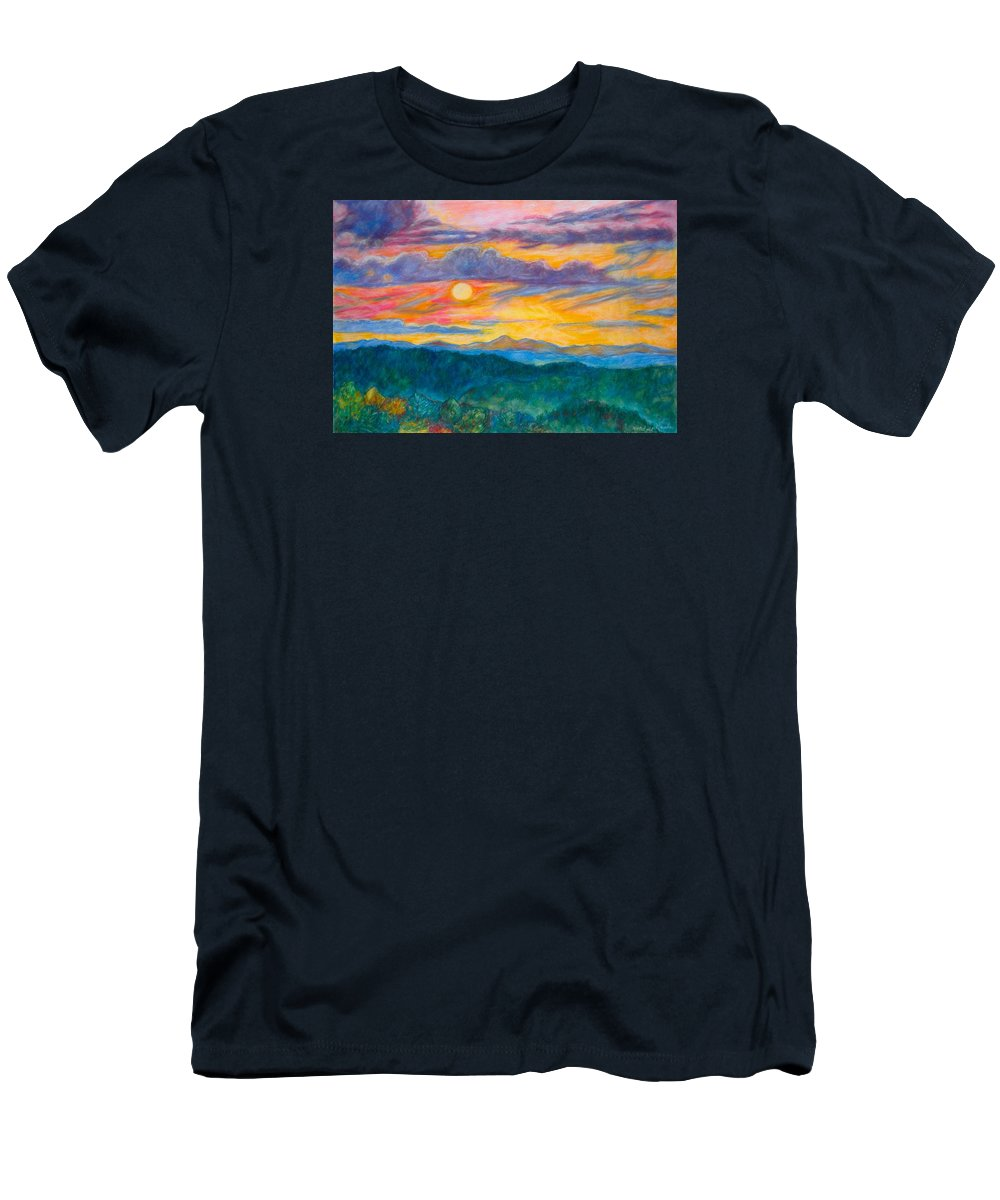 Landscape Men's T-Shirt (Athletic Fit) featuring the painting Golden Blue Ridge Sunset by Kendall Kessler