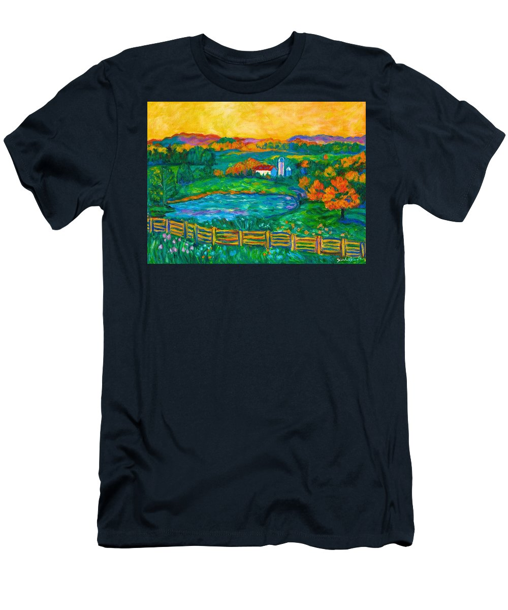 Landscape Men's T-Shirt (Athletic Fit) featuring the painting Golden Farm Scene Sketch by Kendall Kessler