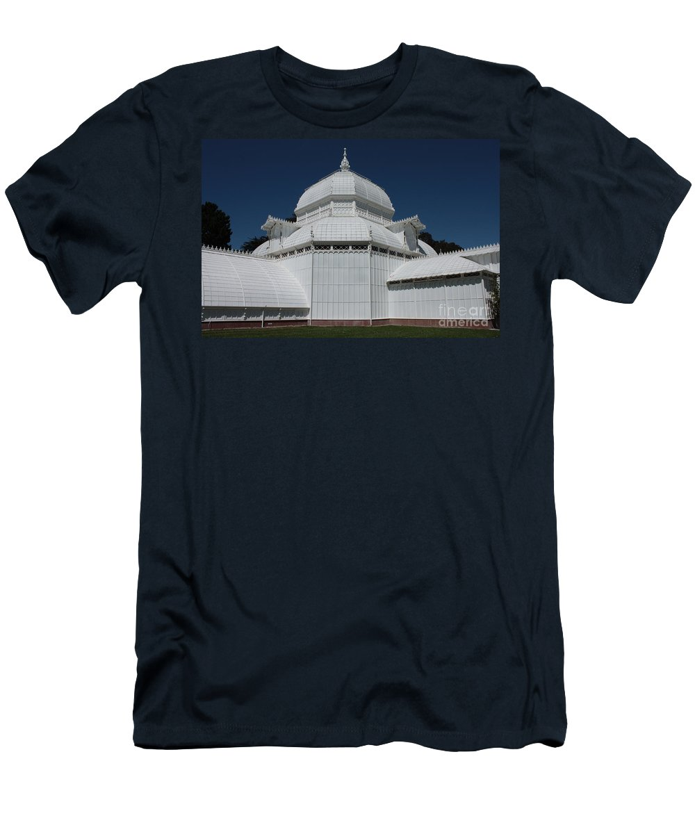 White Men's T-Shirt (Athletic Fit) featuring the photograph Golden Gate Conservatory by Carol Groenen