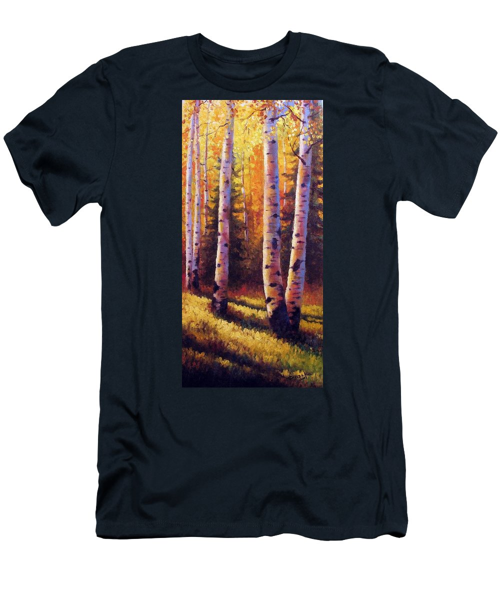 Light Men's T-Shirt (Athletic Fit) featuring the painting Golden Light by David G Paul