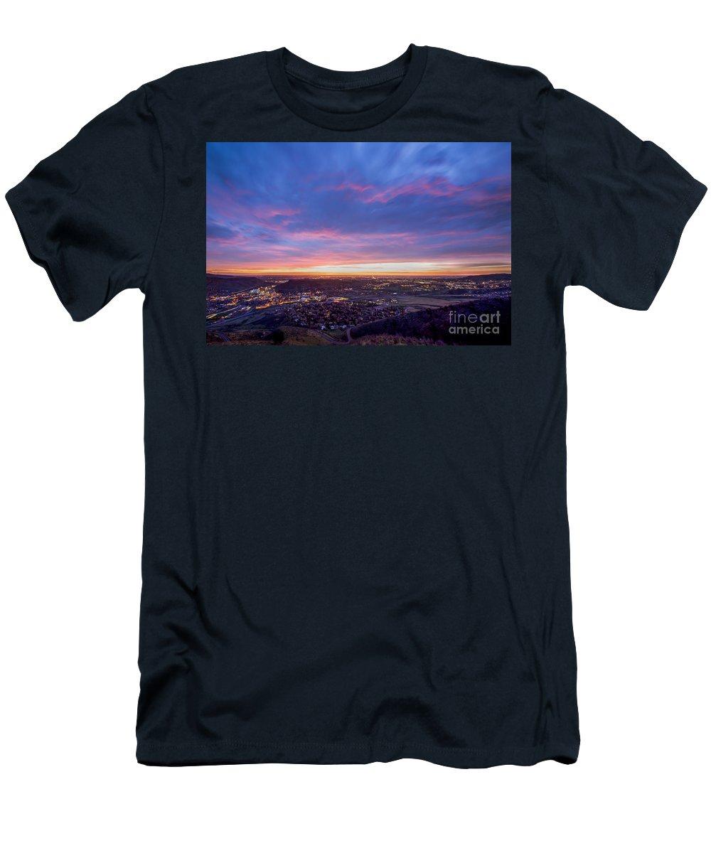 Denver Men's T-Shirt (Athletic Fit) featuring the photograph Golden Sunrise by Twenty Two West Photography