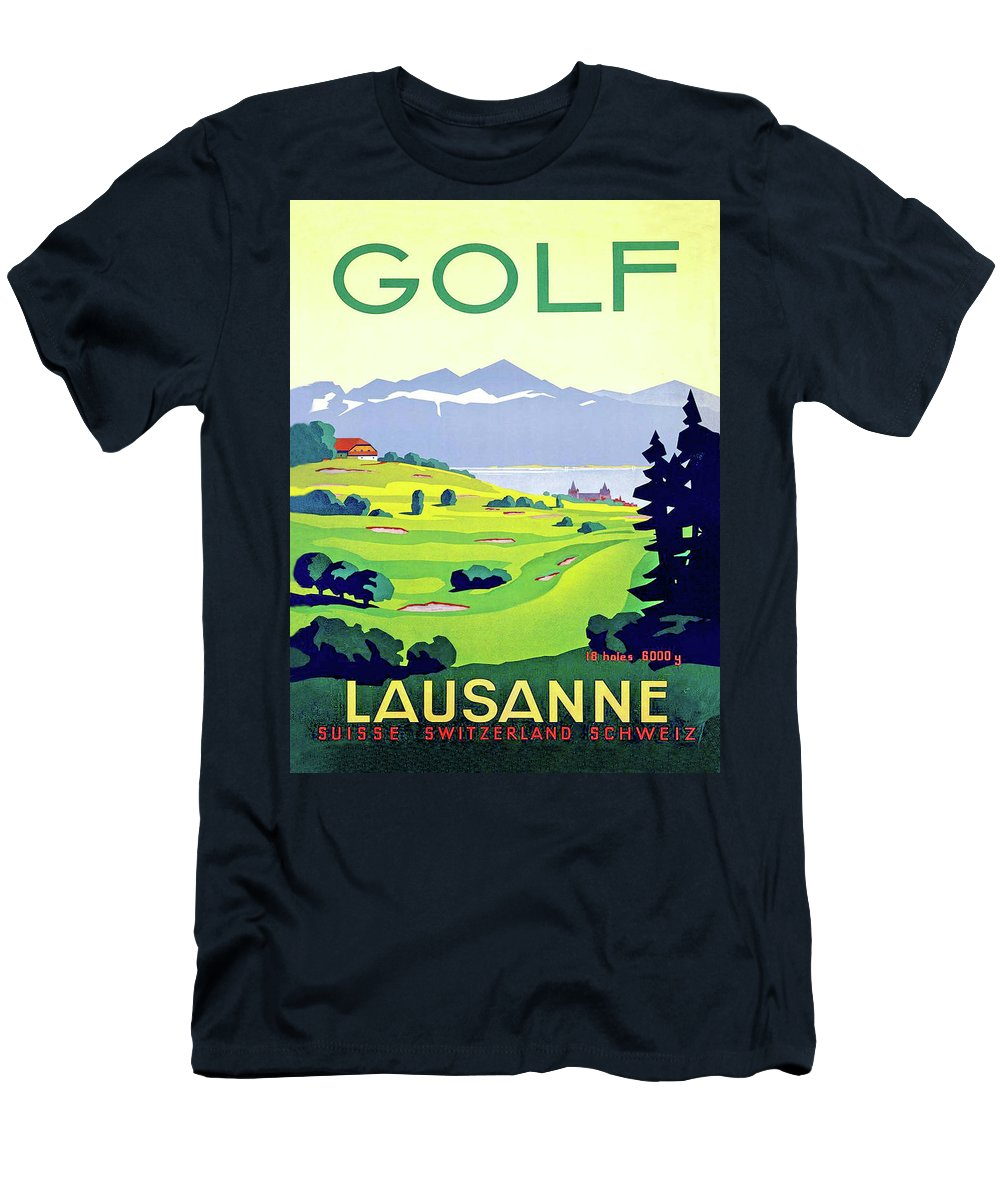 Golf Men's T-Shirt (Athletic Fit) featuring the digital art Golf, Lausanne, Switzerland, Travel Poster by Long Shot