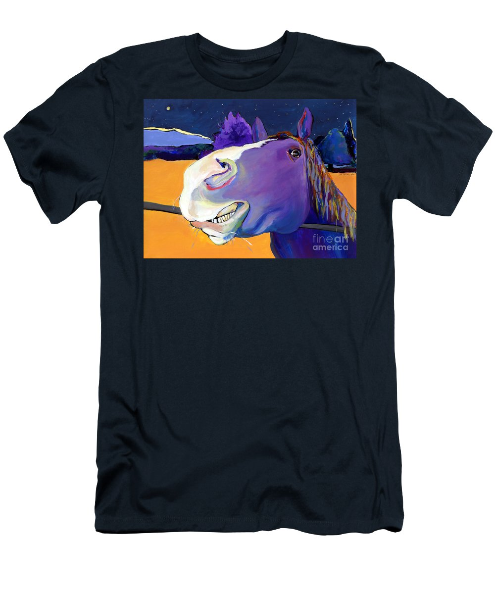 Barnyard Animal Men's T-Shirt (Athletic Fit) featuring the painting Got Oats   by Pat Saunders-White