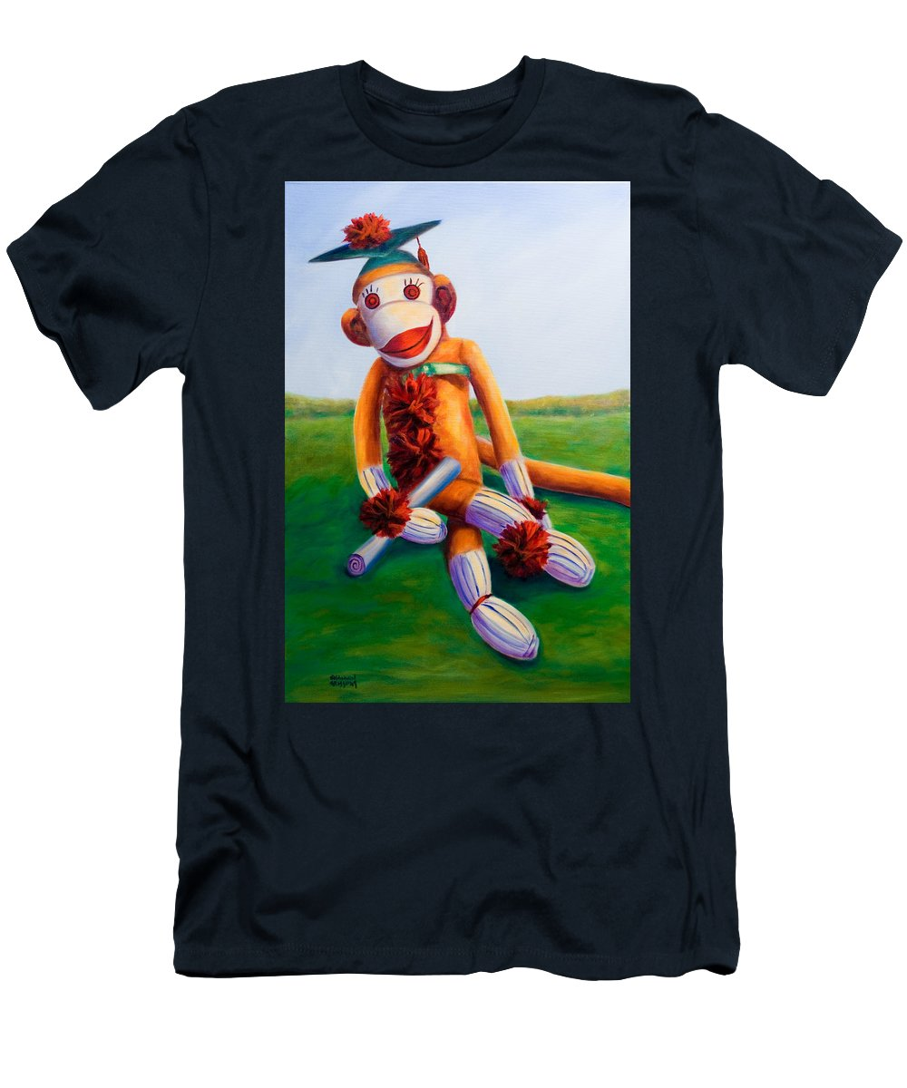Graduation Men's T-Shirt (Athletic Fit) featuring the painting Graduate Made Of Sockies by Shannon Grissom