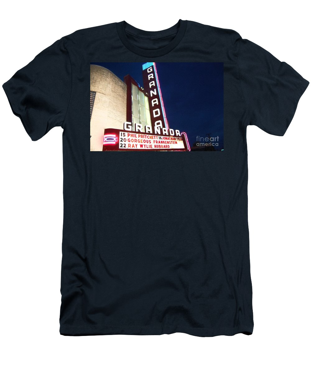 Music Men's T-Shirt (Athletic Fit) featuring the photograph Granada Theater by Debbi Granruth