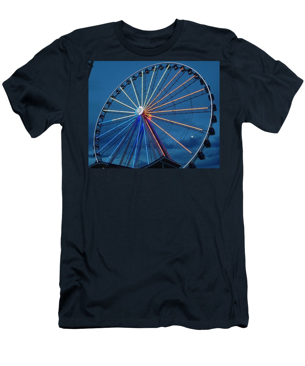 Attraction Men's T-Shirt (Athletic Fit) featuring the photograph Great Smoky Mountain Wheel by Avery French