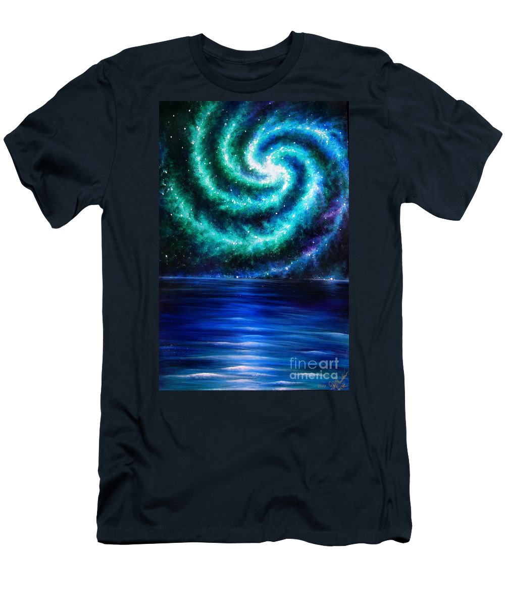 Planet Men's T-Shirt (Athletic Fit) featuring the painting Green-blue Galaxy And Ocean. Planet Dzekhtsaghee by Sofia Metal Queen