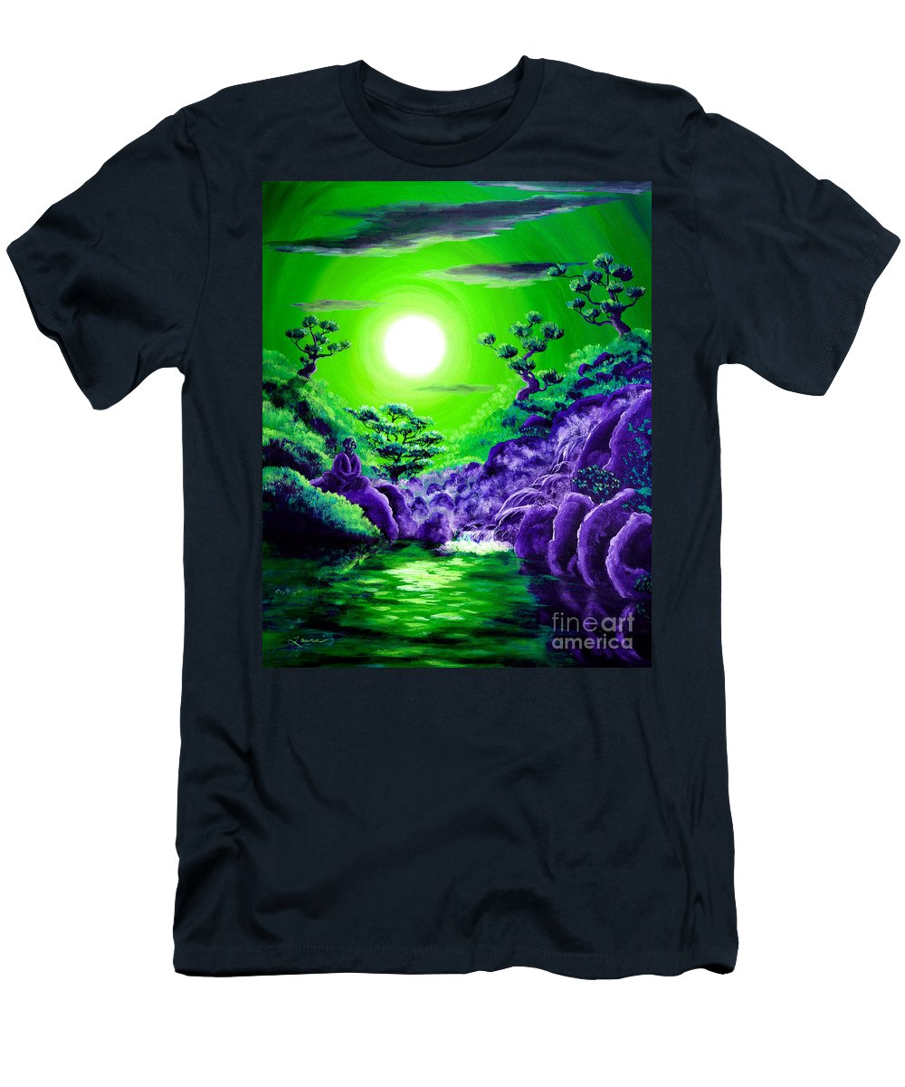 Zen Men's T-Shirt (Athletic Fit) featuring the painting Green Buddha Meditation by Laura Iverson