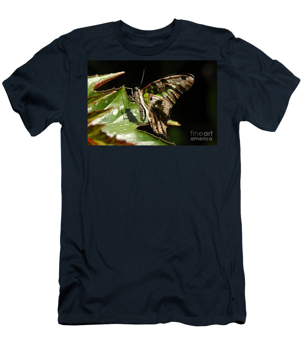 Butterfly Men's T-Shirt (Athletic Fit) featuring the photograph Green Checkered Skipper by David Lee Thompson