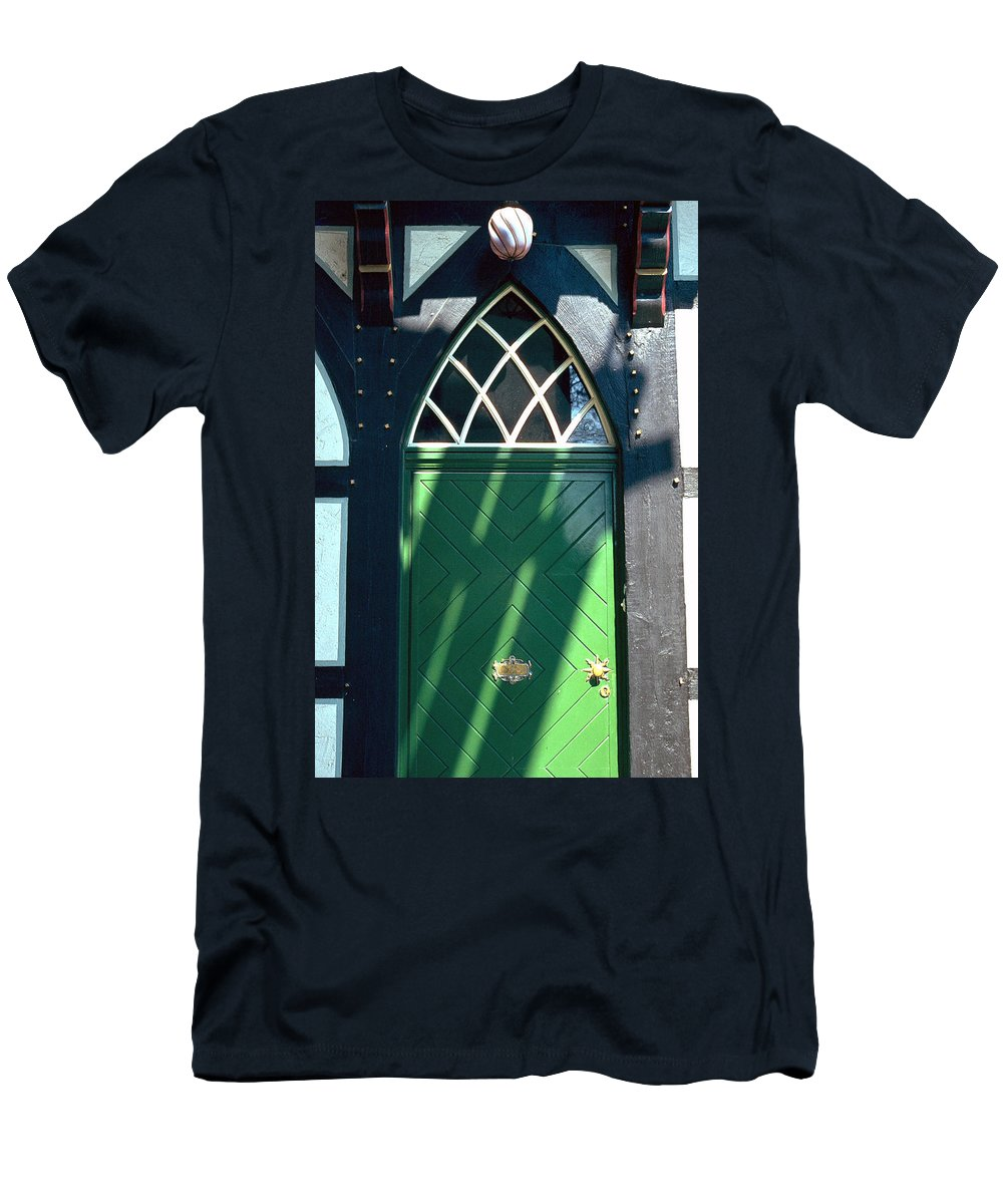 Green Men's T-Shirt (Athletic Fit) featuring the photograph Green Door by Flavia Westerwelle