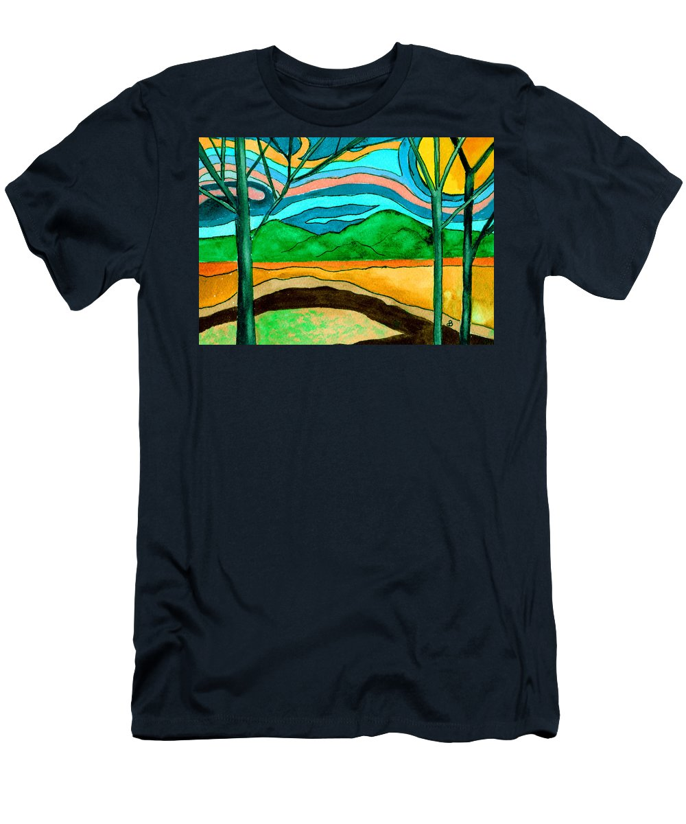 Watercolor Men's T-Shirt (Athletic Fit) featuring the painting Green Hill Country by Brenda Owen